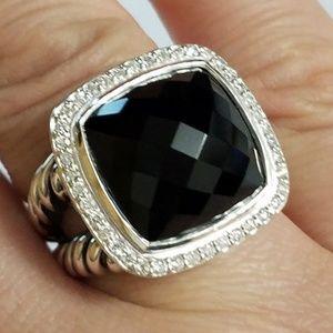 DAVID YURMAN Albion 14mm Black Onyx Diamond Ring 6